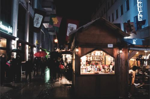 illuminated stall at Chemnitz Christmas Market, Germany