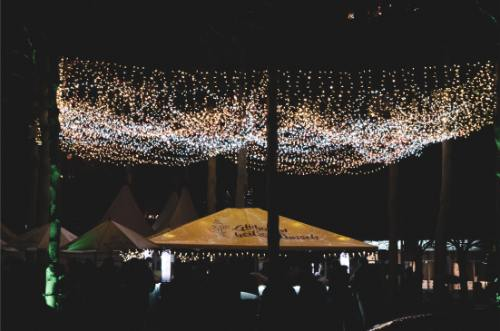 Ceiling of lights above Chemnitz Christmas market