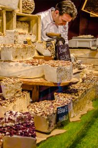 nougat bread at Dresdner Stollen hut at Dresden Christmas market