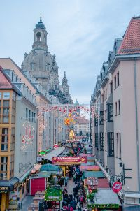 Augustusmarkt at Dresden Christmas market street towards Frauenkirche