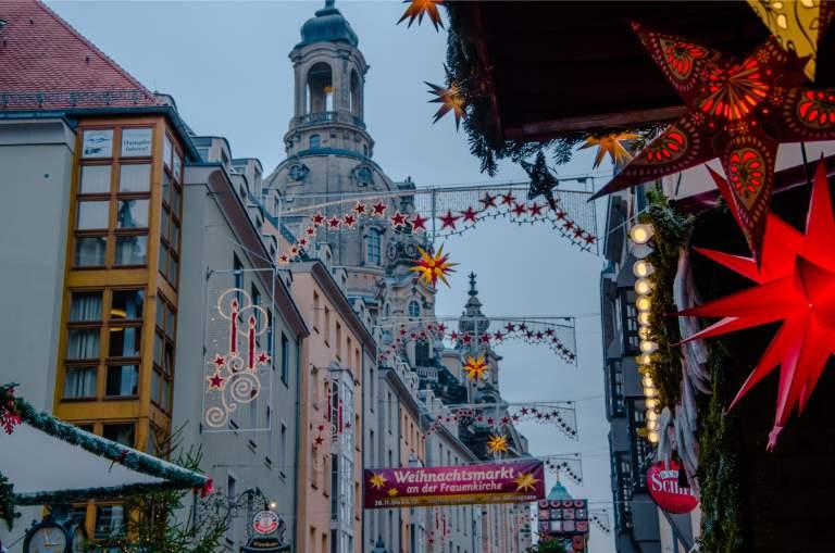 Augustusmarkt with Frauenkirche at the Christmas market in Dresden