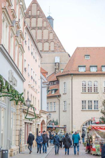 historic city center in Meissen during December