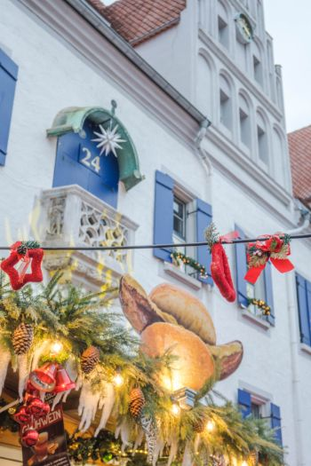 Historic Meissen town hall during Christmas