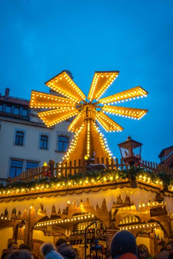 Christmas pyramid at Meissen Christmas market lit up at night