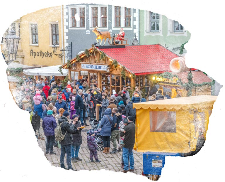 Meissen Christmas market with water color frame
