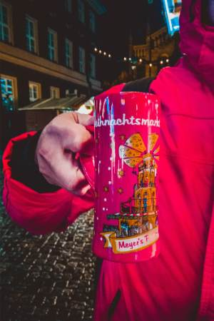 red mug for mulled wine at Potsdam Christmas market