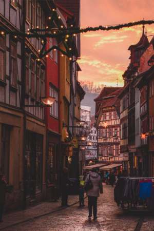 Historic street at Schmalkalden Christmas Market in Germany