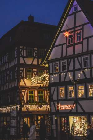 lights on half timbered houses at Schmalkalden Christmas Market in Germany