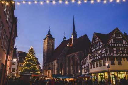 center of the Schmalkalden Christmas Market in Germany