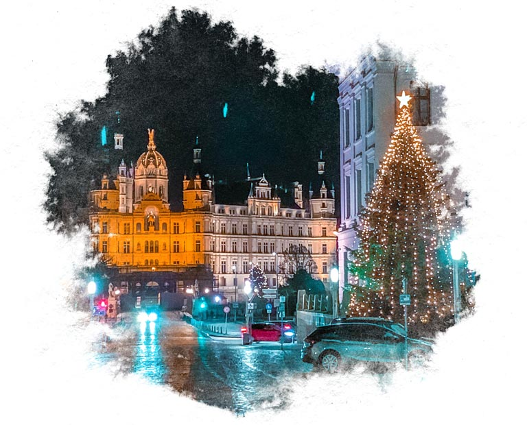 Schwerin castle in December with water color frame