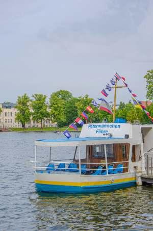 small ferry on Schwerin's Pfaffenteich