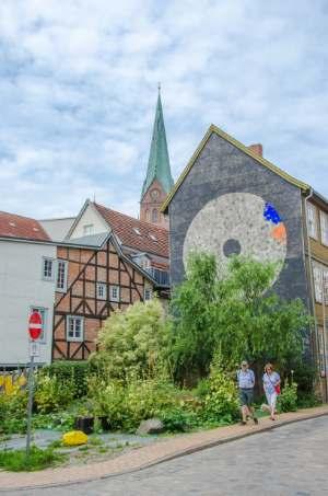 Historic town center in Schwerin, Germany