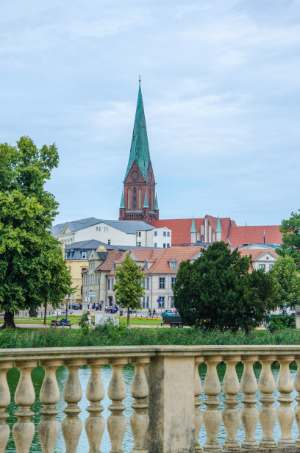 view from Castle to Schelfkirche in Schwerin Germany