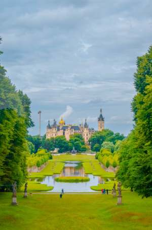 Schwerin Castle grounds with view over Castle