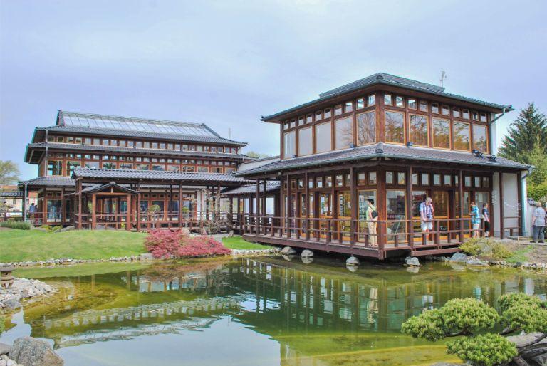 main buildings at Japanese Garden in Bad Langensalza, Germany