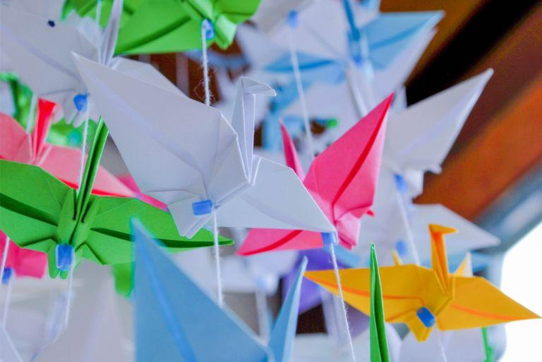 origami cranes at Japanese Garden in Bad Langensalza, Germany