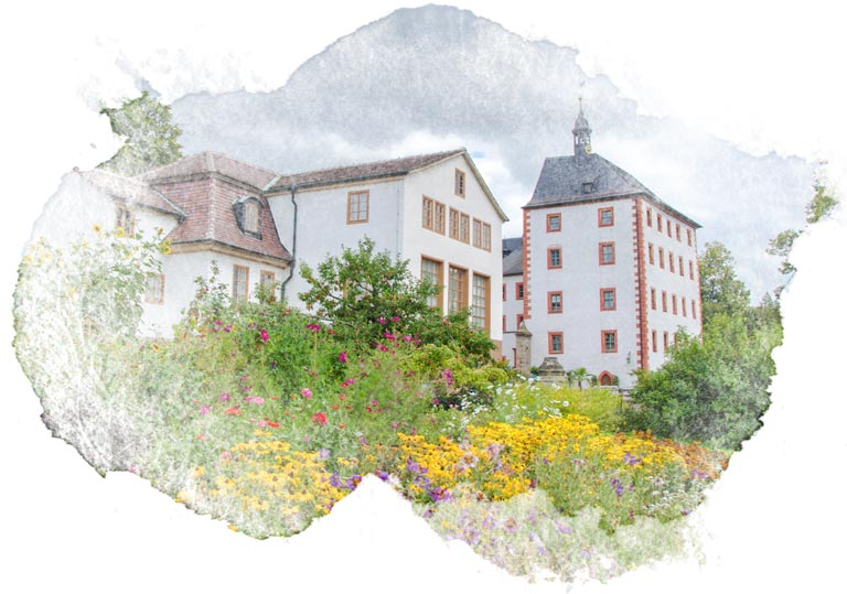 Castle in Grosskochberg Germany with watercolor frame