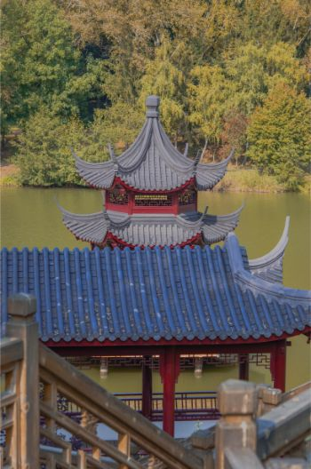 view over the pond pavilion at the Chinese Garden of Weissensee Germany