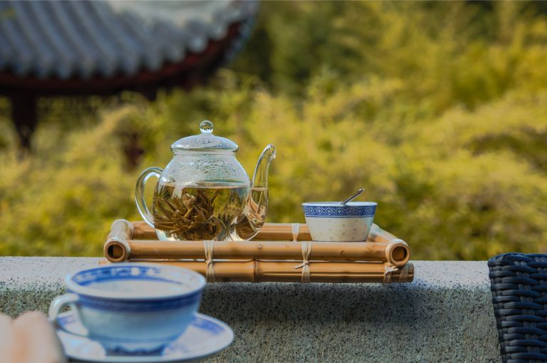 frew Chinese tea at the Chinese Garden of Weissensee Germany