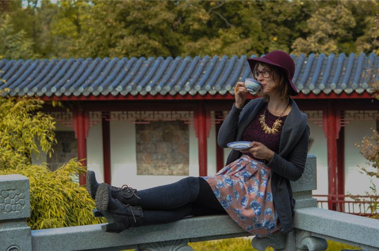Sipping tea at the Chinese Garden of Weissensee Germany