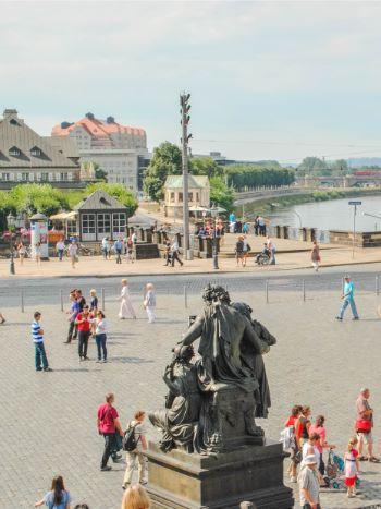 square in front of Dresden Cathedral and River Elbe