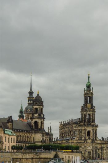 Skyline of Dresden's historic city center underneath an overcast sky