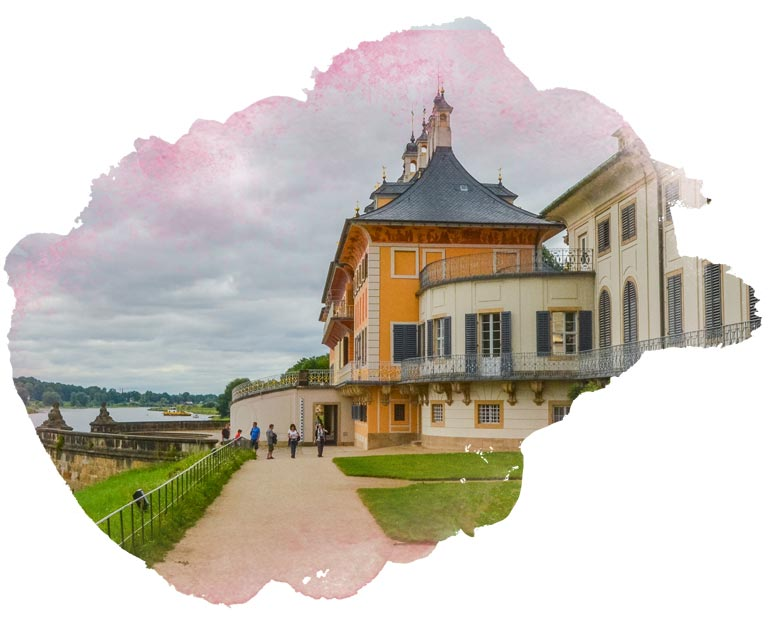 Pillnitz castle near Dresden with water color frame