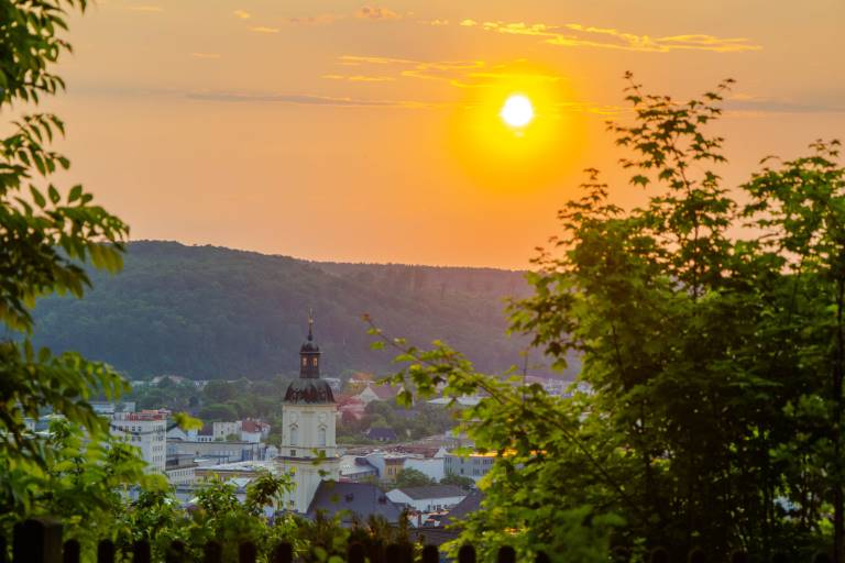 view over Gera at sunset from Luther linden tree