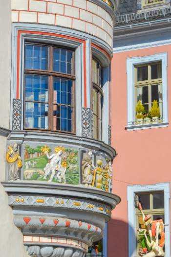 historic details on historic pharmacy in Gera, Germany
