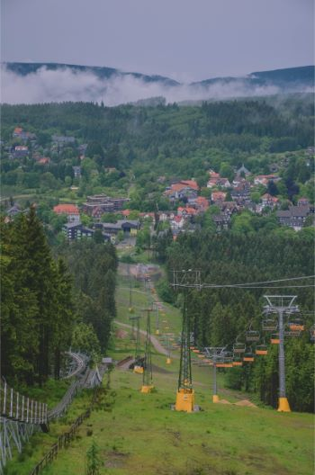 ski lift during summer in the Harz, Germany