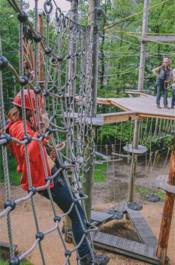 climbing park with woman hanging in the ropes, in the Harz, Germany