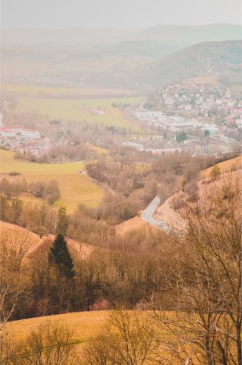 view over nearby towns from Leuchtenburg Castle, Germany