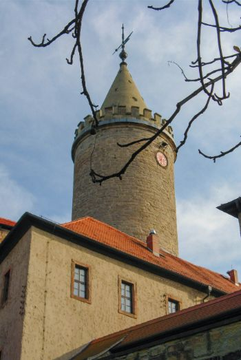 tower with clock at Leuchtenburg Castle, Germany