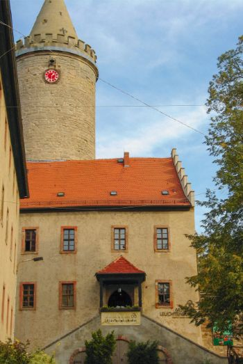 inside courtyard with tower of Leuchtenburg Castle, Germany