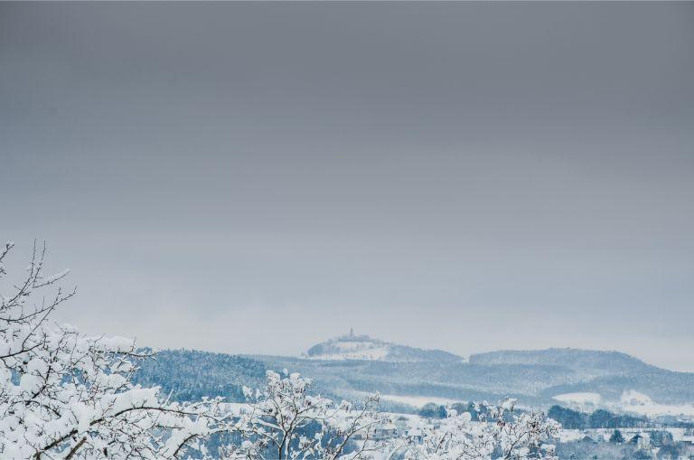 Leuchtenburg above Kahla in a snowy landscape
