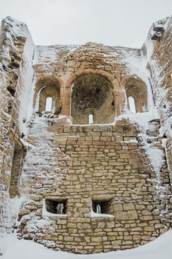 inside the Lobdeburg Castle tower, sprinkled with snow
