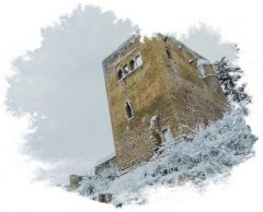 Lobdeburg Castle in Jena covered in snow with water color fringe frame