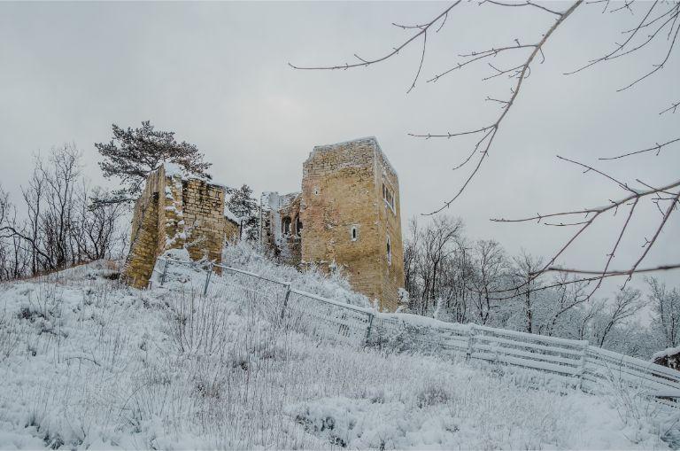 Lobdeburg Castle in Jena in a snowy landscape