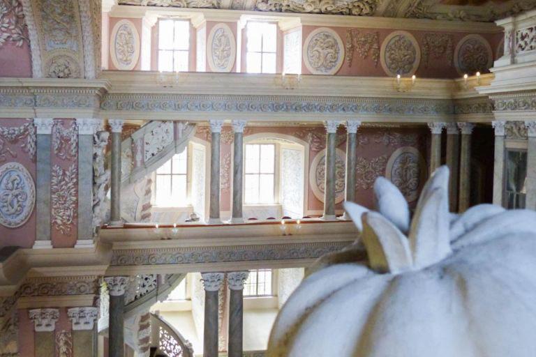 inside the white Castle Church of Wilhelmsburg in Schmalkalden, Germany