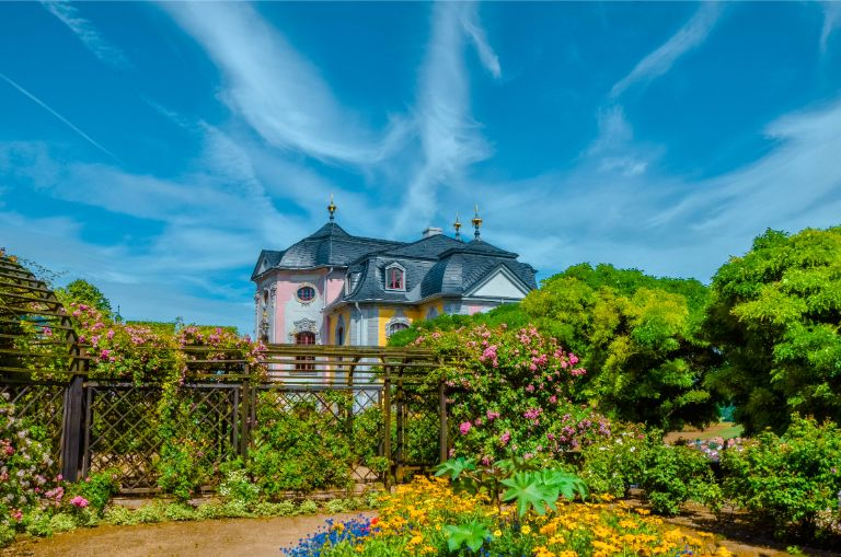 Rococo Castle in Dornburg seen from the flower walks, Germany