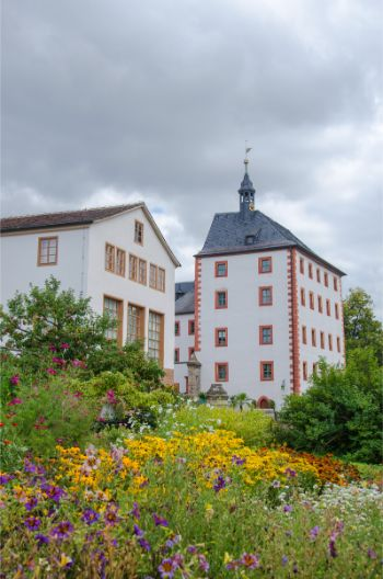 flower patches and herb agrden in front of Castle Kochberg in Germany