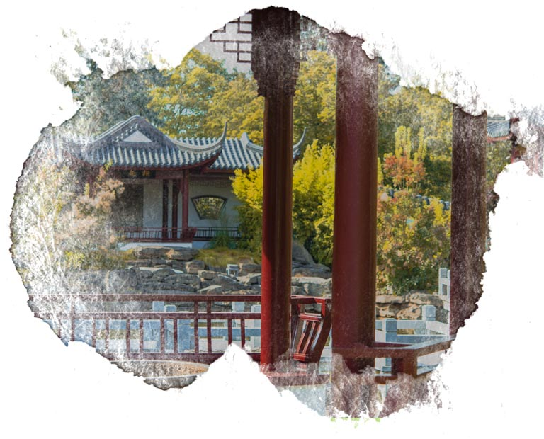 Chinese Garden in Weissensee Germany with water color frame