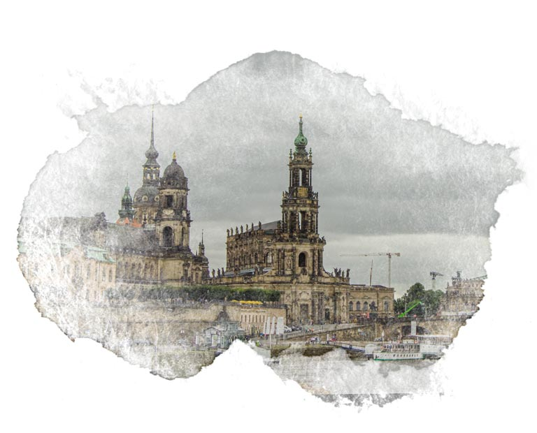 Dresden skyline with water color frame