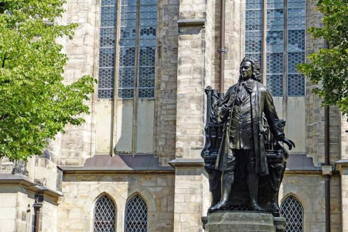 Bach statue in front of church in Leipzig, Germany