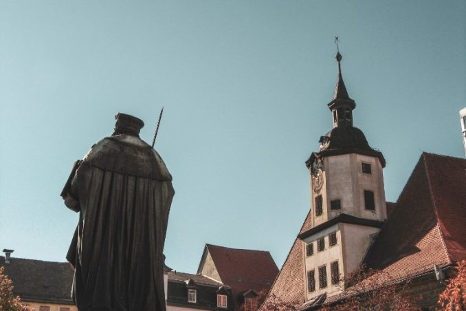 marketplace of Jena with Hanfried statue and townhall