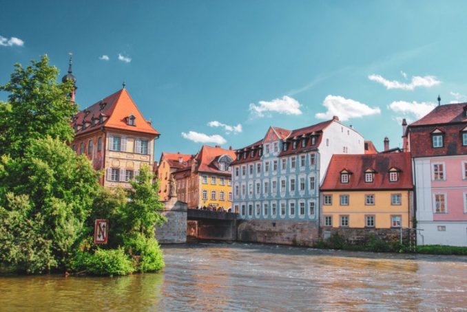Historic townhall in the middle of the river in Bamberg, Germany