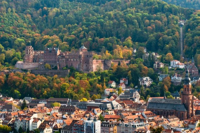 Heidelberg castle above the city in late summer, Germany