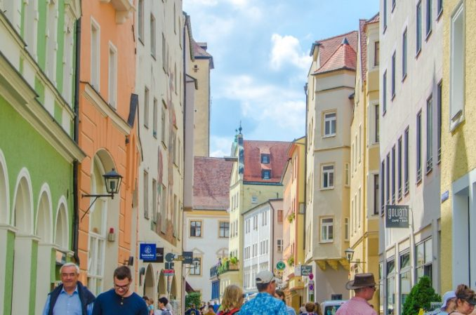 busy street in Regensburg, Germany
