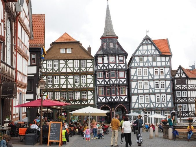 Fritzlar market square with guildhouse, Germany
