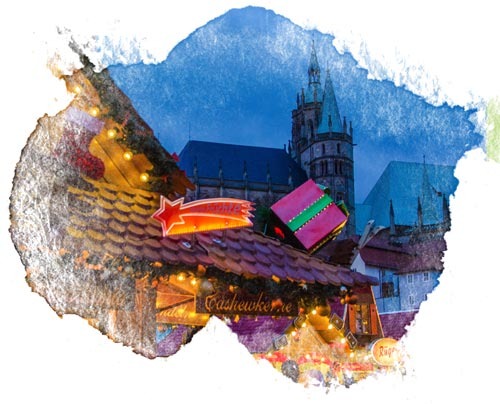 German Christmas market at night with watercolor frame